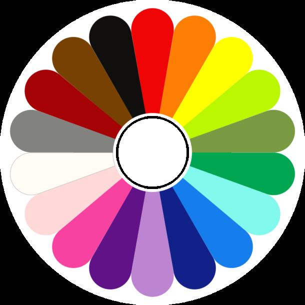 Kleurenbloem Kracht van Kleur - uit deze kleurenbloem kies je de kleuren voor de online kleurkaartlegging waarmee je werkt oon persoonlijke groei en ontwikkeling op basis van de kleurenpsychologie.